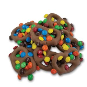 milk chocolate mini pretzels sprinkled with m&M's