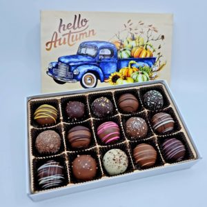 autumn box filled with assorted truffles
