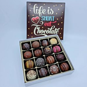 Life is Short eat chocolate Brown lid box filled with assorted truffles